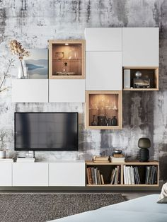 Bedroom Organisation, Home Organization, Space Saving Storage, Tv Storage, Catalogue Ikea, Living Room Decor Styles, White Tv Unit, Old Coffee Tables, Media Furniture