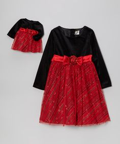 Red & Black Plaid Velour Dress & Doll Outfit - Girls | Daily deals for moms, babies and kids