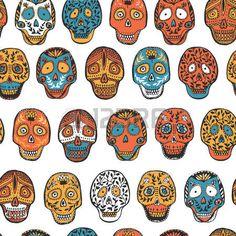 tete mexicaine: motif mexicain scull transparente dans le vecteur.
