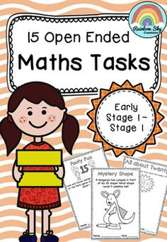 15 open ended Maths Tasks for K to Grade 2. Problem solving activities. No prep, ready to go. ~ Rainbow Sky Creations ~