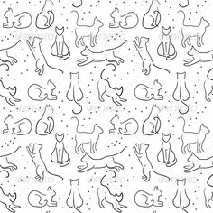 Adorable kitty outlines...possible tattoo idea?
