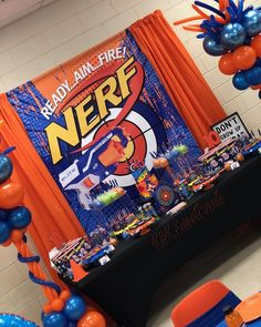 """✨K&K.SweetEvents✨ on Instagram: """"' It's Nerf Or Nothin ' Happy 10th Birthday To My Son Robert! 💚🎯💙🔫🧡 Everything about his party was AMAZING.  #Nerf #NerfGuns #NerfFun…"""" 7th Birthday Party Ideas, Happy 10th Birthday, Party Themes For Boys, Nerf Gun Cake, Nerd Party, Diy Party Decorations, Instagram, Amazing, Toddler Girls"""
