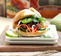 Shredded Crispy Duck Banh Mi Sliders with Pickled Carrot Radish Slaw and Spicy Aioli