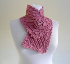 cuello de punto, la moda de invierno, neckwarmers rosa, Tejido a mano, regalo nuevo, Unico de 2013