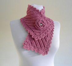 cuello de punto, la moda de invierno, neckwarmers rosa, Tejido a mano ...