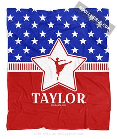 Golly Girls: Personalized Patriotic USA Dance Fleece Blanket only at gollygirls.com