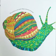 Love my Animal Kingdom coloring book! #animalkingdom #coloringbook #snail #whimsical #colorlove #playwithcolors #milliemarotta