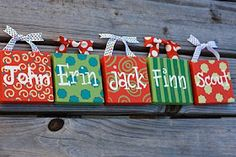 "4x4 wooden ""gift bag"" ornaments.....I would do these in 2x2 size as tree ornaments!"