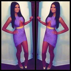 Purple And Gold Keyhole Bandage Dress