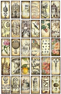 ViNTaGe SNiPPeTs 1 x 2 inch digital collage sheet letters antique castle roses balloons angels paper supplies domino pendant sh23