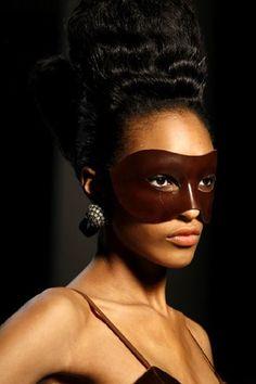 "a-state-of-bliss: ""Jourdan Dunn @ Jean Paul Gaultier Fall/Wint 2009 "" Jordan Dunn, Givenchy, Native Design, Brown Eyed Girls, Leather Mask, Exotic Women, Carnival Masks, Beauty Shots, Headpiece"