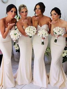 Ivory Bridesmaid Dresses with Glittering Beaded Sweetheart Bodice, Long Bridesmaid Dress with a Ribbon, Elegant Mermaid Bridesmaid Dresses, · VanessaWu · Online Store Powered by Storenvy Sparkly Bridesmaid Dress, Bridesmaid Dresses With Sleeves, Mermaid Bridesmaid Dresses, Bridesmaid Dresses Online, Lace Bridesmaid Dresses, Mermaid Dresses, Wedding Party Dresses, Party Gowns, Dress Prom