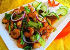 Chinese ketjap knoflook garnalen met paksoi en rijst