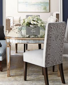 Shop William Dining Chair Daniella Tufted Banquette & Eliza Antiqued Mirrored Dining Table from John-Richard Collection at Horchow, where you'll find new lower shipping on hundreds of home furnishings and gifts. Mirrored Furniture, Grey Furniture, Dining Room Furniture, Cool Furniture, Dining Chairs, Dining Rooms, Room Chairs, Entry Furniture, Hooker Furniture