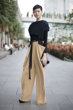 Streetpeeper.com Street Fashion Top: Black Cardigan over Black Top Pants: Camel Wing Trousers Photo By: Phil Oh