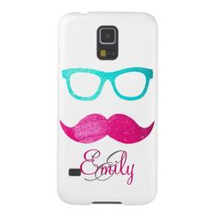 Monogram Neon Pink mustache teal hipster glasses Cases For Galaxy S5