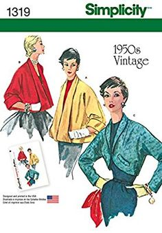 "Simplicity 1319 Size R5 ""Misses' Set of Vintage Jackets"" Sewing Pattern"