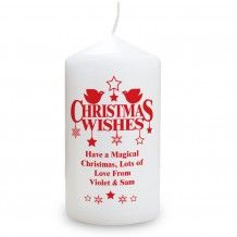 Red dove christmas wishes design candle. Personalise with up to 4 lines of text. Comes with an organza presentation bag. http://www.middletonwood.co.uk/