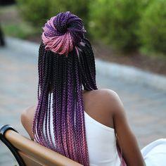 Striking 25 Purple Braids on Dark Skin – New Natural Hairstyles Purple Braids, Black Girl Braids, Braids For Black Hair, Pink Box Braids, Girls Braids, Afro Braids, African Braids, Crochet Braids Hairstyles, Afro Hairstyles