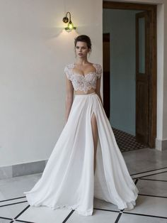 Possibly the Most Epic Selection of Two Piece Wedding Dress Bridal Separates Ever! Style, support and seduction combine in this 2 piece bridal gown by Riki Dalal to create the perfect pairing of beaded sparkle on top, with soft, flowing tulle below.