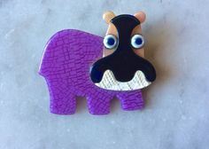 Lea Stein Paris Vintage HIPPO  brooch Rare by DecoFashion on Etsy