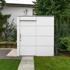 Wetterfestes Design Gartenhaus, Gartenschrank & Tauchbecken Modern, Garage Doors, Layout, Outdoor Decor, Home Decor, Gardens, Garden Fences, Shed Houses, Plunge Pool