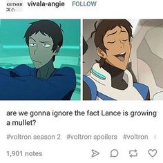 NO NO NO NO!!! In the Garrison school, he was a replacement for Keith. Keith is going to pilot Black, so Lance has to take Red, making him a replacement AGAIN! Now there's a MULLET?! He just got out of being the seventh wheel guys, please don't turn into Keith's shadow.
