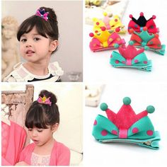 Kid Girl Baby Princess Barrette Ribbon Crown Molding Hairpin Hair Clips-in Hair…