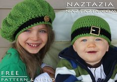 Free Pattern - Crochet Irish Inspired Beret and Beanie Hat - Good for St Patricks Day with YouTube Tutorial Video by Naztazia. FREE PDF 1/15.