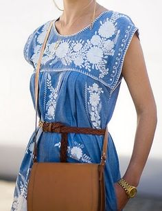 Slavic Ethereal    Embroidered blue dress