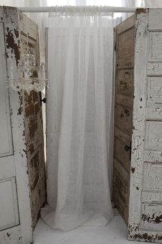 Couture Dreams Solid Ivory Linen Gauze Curtain Panel