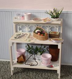 Home › Search Results › DollshouseMiniatures › Furniture  Gorgeous Shabby Chic potting bench