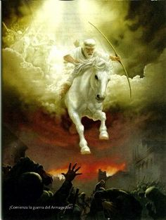 Revelatian 6:2 And I saw, and look! a white horse, and the one seated on it had a bow; and a crown was given him, and he went out conquering and to complete his conquest