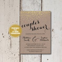 Rustic Couples Shower Bridal Shower Invitation Printable, Rustic Bridal Shower Invitation, Kraft Paper Bridal Invitation, Foil Bridal Shower Invite by ShadesOfGrace1 on Etsy
