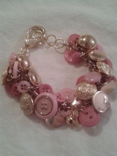 Items similar to Pink and gold color button bracelet, it jingles, its chunky, its one of a kind! on Etsy Button Bracelet, Bracelets, Jewelry Party, Pink And Gold, Jewelry Design, Buttons, Pretty, Silver, Color