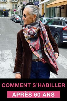 Comment s'habiller après 60 ans ? Les looks inspirants de Linda V Wright   Taaora – Blog Mode, Tendances, Looks Over 50 Womens Fashion, Fashion Over, Nyc Fashion, Fashion Ideas, Winter Mode, Casual Chic, Plaid Scarf, Stylish Outfits, Alexander Mcqueen Scarf