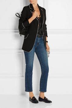 Carine Gilson Camisole + Gucci Blazer and Loafers +AG Jeans + The Row Backpack