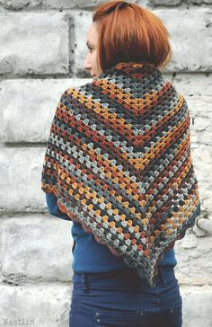 Crochet triangular scarf / crochet shawl / granny square wrap by Nastiin