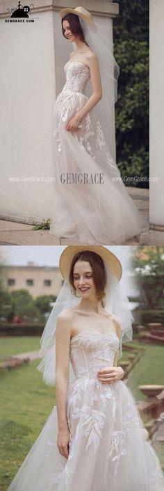 973100670b 2018 Beach Wedding Dresses, Wedding Dresses for the Beach Wedding -  GemGrace. pretty boho lace beach wedding dress strapless
