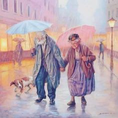 Grandparents / old couple DIY Diamond Painting Kit. Crystal Round Drill diamond painting with full pasting area. This is a timeless piece that looks good in any decor and makes the perfect addition to your Diamond Art Collection. Vieux Couples, Old Couples, Walking In The Rain, Singing In The Rain, Rain Art, Growing Old Together, Umbrella Art, 5d Diamond Painting, Cross Paintings