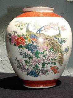 Vintage japanese satsuma urn vase w peacocks . Crackled porcelain Arnart 1979