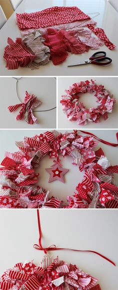 DIY wreath - use any color scheme for any holiday. Use heart shape for Valentines, a star shape for 4th of July, etc.