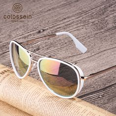 Women Sunglasses Vintage Pilot Coating Glasses With Metal Frame Brand Name: COLOSSEIN Item Type: Eyewear Lenses Optical Attribute: Frame Material: Alloy Style: Pilot Gender: Women Lenses Material: Polycarbonate Lens Height: Lens Width: Sunglasses Women 2017, Mens Sunglasses, Vintage Sunglasses, Sunglasses For Your Face Shape, Sunglass Frames, Mirrored Sunglasses, Outdoors, Coat, Ties
