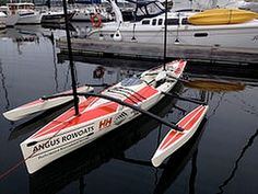 We've adapted our canoe-shaped rowboat into a performance sailing vessel. This is a very versatile boat that includes a full length sleeping chamber, seven s. Sailing Kayak, Canoe And Kayak, Sea Kayak, Sailing Ships, Canoe Plans, Wooden Boat Plans, Cool Boats, Small Boats, Cruiser Boat