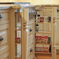 Pilaster spice rack- nice way to hide spices behind trim and be able to see them fully when opened