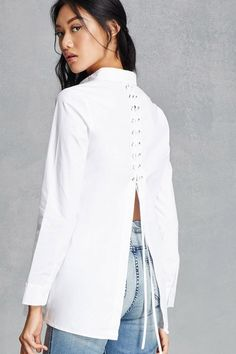 A woven longline shirt featuring a lace-up back with grommets, a split back hem, a button-down placket, basic collar, and long button-cuff sleeves. This is an independent brand and not a Forever 21 branded item. Fashion Outfits, Womens Fashion, Fashion Trends, Casual Fall, Classy Outfits, Shirt Outfit, Cotton Dresses, Casual Dresses, Clothes For Women