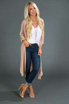 "Fashionably Latte Velvet Top In Blush - City Skyline Duster Cardigan in Iced Latte "" City Skyline Duster Cardigan in Iced Latte The Effec - Fall Fashion Outfits, Fall Winter Outfits, Look Fashion, Autumn Fashion, Fashion Style Women, 40 Year Old Womens Fashion, Fashion For Women Over 40, Trendy Clothes For Women, Woman Fashion"