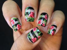 Nailpolis Museum of Nail Art | Negative Space Rose Nail Art by Celine Peña