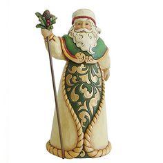 Enesco 4035389 045544586092 Jim Shore Green Ivory And Gold Santa Figurine Santa Figurines, Christmas Figurines, Collectible Figurines, Christmas Ornaments, Jim Shore Christmas, Father Christmas, Irish Christmas, Christmas 2016, Polymer Clay Christmas
