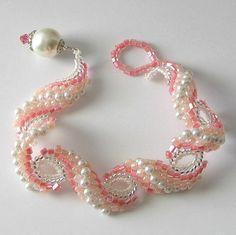 Peyote bracelet...Pearl Blush, pale peach pink and cream white, beaded bracelet, beaded jewelry, beadweaving, NOW ON SALE was 84 now 65. $65.00, via Etsy.